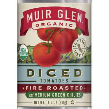 Muir Glen Organic Diced Fire Roasted Tomatoes With Medium Green Chilies, 14.5 oz