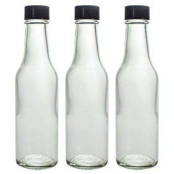 Clear Thick Glass Woozy Sauce Bottle Decanter - 5 oz ( 3 Pack)