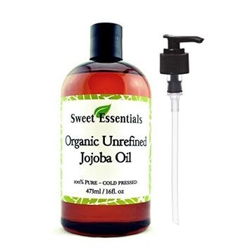 Premium Organic Unrefined Jojoba Oil, 16oz With Pump, Imported From Argentina, 100% Pure, Cold Pressed - For Hair, Skin & Nails - Best Natural Moisturizer - Hexane Free