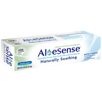 AloeSense Naturally Soothing, Clinically-Proven Anti-Cavity Fluoride Toothpaste Fresh Mint, Travel Size - 0.75 oz.