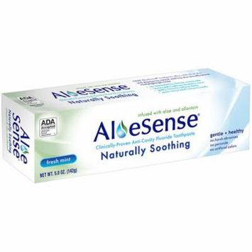 AloeSense Naturally Soothing, Clinically-Proven Anti-Cavity Fluoride Toothpaste Fresh Mint, Family Size5.0 oz.(pack of 4)