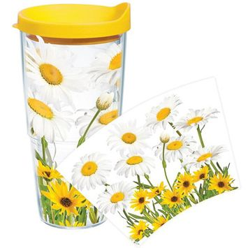 Tervis Tumbler Company Tervis White Daisies Wrap Bottle with Yellow Lid, 24-Ounce, Garden Party