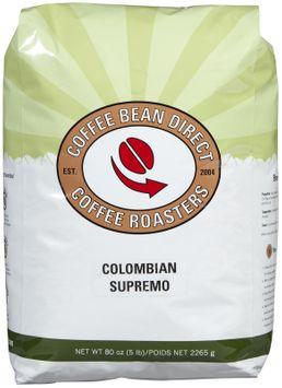 Coffee Bean Direct Colombian Supremo, Whole Bean Coffee, 5 lb bag