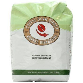 Coffee Bean Direct Sumatra Gayoland, Organic Fair Trade Whole Bean Coffee, 5-Pound Bag