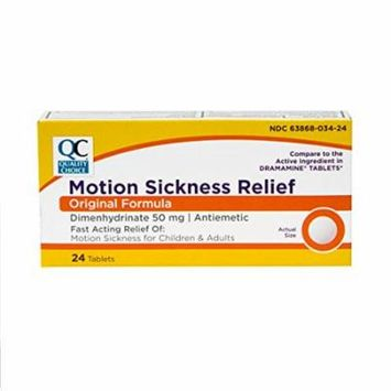 2 Pack Quality Choice Fast Acting Motion Sickness Relief 24 Tablets Each