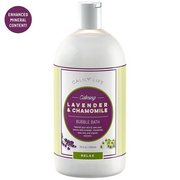 Calily Life Organic Aromatherapy Lavender and Chamomile Bubble Bath, Soak and Wash, 33. 8 Oz. – Relaxes, Soothes and Nourishes - With Pure Essential Oils; Lavender, Chamomile & Aloe Vera [ENHANCED]