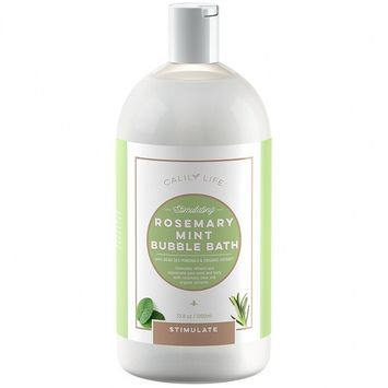 Calily Life Aromatherapy Rosemary and Mint Bubble Bath, Soak and Wash, 33.8 Oz.– Infused with Pure Essential Oils; Rosemary, Mint, Aloe Vera & Organic Extracts – Refreshes, Soothes & Nourishes