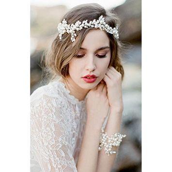 FXmimior Hair Vine Bridal Wedding Crystal Pearl Rhinestone Headband Ribbon Headpiece Tiara Wedding Party Evening Hair Accessory