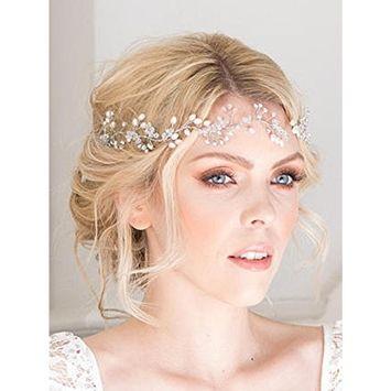 FXmimior Bridal Hair Accessories Crystal Headband Hair Vine Diadem Evening Hair Piece Headpiece Customised Long Piece Wedding Headpiece (silver)