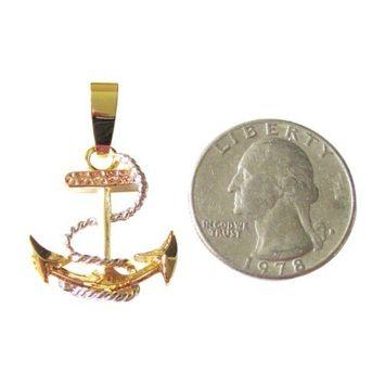 Tri Color 14K Gold Overlay Anchor Pendant Nautical Charm