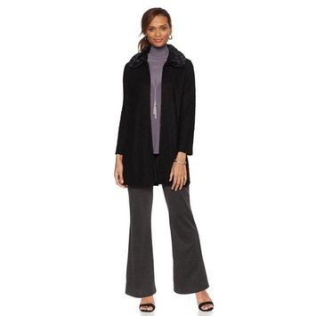 Slinky® Brand Boucle Duster Faux Fur Collar 514-956