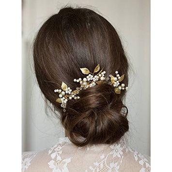 FXmimior Bridal Vintage Crystal Leaf Hair Pins Wedding Party Hair Accessories(pack of 3) (G