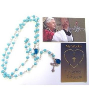 Our Lady of Grace Glass Blue Beads Rosary and Blessed Holy Card