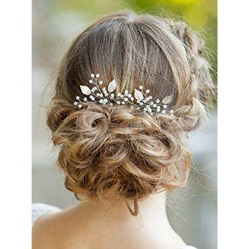 FXmimior Bride Flower Crystal Hair Pins Rhinestone Headpiece Wedding Hair Accessories (rose g