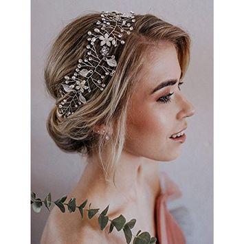 FXmimior Women Bridal Wedding Crystals Leaf Love Long Hair Vine Wedding Headband Evening Party Headpiece