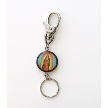 Blessed By Pope Francis Virgen De Guadalupe Wood Keychain