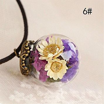 KeyZone Hot Stylish Crystal Glass Ball Long Strip Leather Chain Pendant Necklace