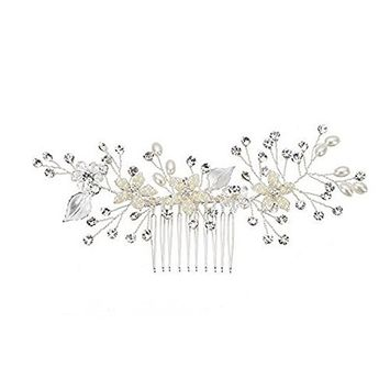 FXmimior Bridal Women Vintage Flower and Leaf Inspiration Hair Comb Wedding Evening Party Hair Accessory