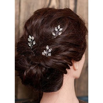 FXmimior Bridal Women Silver Vintage Wedding Party Hair Pins Crystal Hair Accessories(pack of 3)
