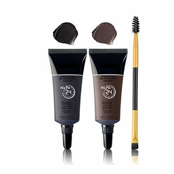 KeyZone 2Pcs Brown+Black Gel Eyeliner and Eyebrow Powder Makeup Brush Set with Eyebrow Mascara Brush