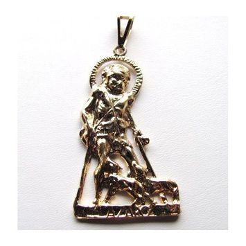 San Lazaro Pendant About 1.5 Inches Long Gold Tone