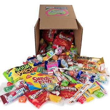 Your Favorite Mix Of Brand Name Candy! - 3 Pound Box of Gummi Bears, Tootsie Rolls, Skittles, Lemon Heads, Jaw Busters & More By Snackadilly (In a 6 inch cube box)