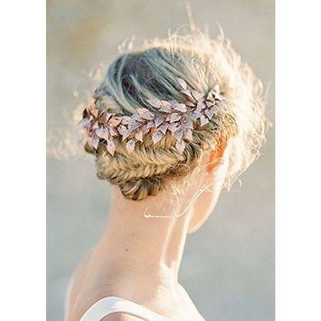 FXmimior Bridal Rose Gold Leaf Headband Crown Tiara Headpiece Headband Bridal Wedding Hair Accessories for Women and Girl