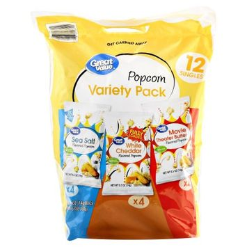 Wal-mart Stores, Inc. Great Value Popcorn Variety Pack, Sea Salt/White Cheddar/Movie Theater Butter, 12 Count