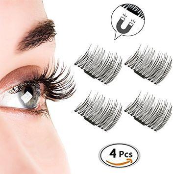 Magnetic Eyelashes, KINIVA Reusable False Eyelash, 4 Pieces One Two Handmade 3D Fake Magnetic Lash