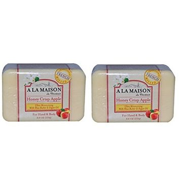 A La Maison de Provence Honey Crisp Apple Soap (Pack of 2) With Shea Butter, Argan Oil and Coconut Oil, 8.8 oz Each