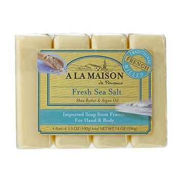 A La Maison Soap Bars, Fresh Sea Salt, Value Pack 3.5 oz, 4 Count