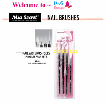 Mia Secret 4 pcs Nail Art Brush Set can be used W Gelux or Acrylic Paint NB18+ Free Temporary Body Tatoo!