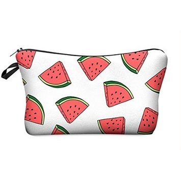 StylesILove Cute Graphic Pouch Travel Case Cosmetic Makeup Bag (Watermelon White)