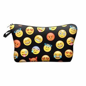 StylesILove Cute Graphic Pouch Travel Case Cosmetic Makeup Bag (Black Emoji)