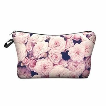 StylesILove Cute Graphic Pouch Travel Case Cosmetic Makeup Bag (HB0010.P.VintageRosesPink)