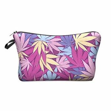 StylesILove Cute Graphic Pouch Travel Case Cosmetic Makeup Bag (HB0010.PU.WeedPink)