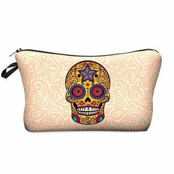 StylesILove Cute Graphic Pouch Travel Case Cosmetic Makeup Bag (Mexican Skull Star)