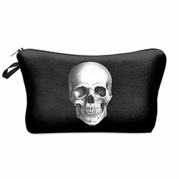 StylesILove Cute Graphic Pouch Travel Case Cosmetic Makeup Bag (Skull Block)