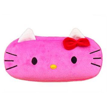 StylesILove Cartoon Multipurpose Plush Cosmetic Organizer Pencil Bag (Hello Kitty Dark Pink)