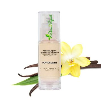 Better'n Ur Skin Organic Liquid Foundation (PORCELAIN - Very Fair, Cool) | Healthy Makeup | All Natural | Vegan | Cruelty Free | Gluten Free | Non GMO | Palm Free | Natural Sun Protection