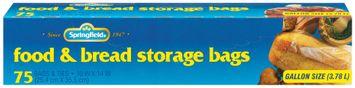 Springfield Storage Food & Bread  W/Ties 1 Gal Bags 75 Ct Box