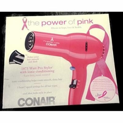 Conair Pro Styler Ionic Conditioning Hair Dryer Breast Cancer Research Fund Pink