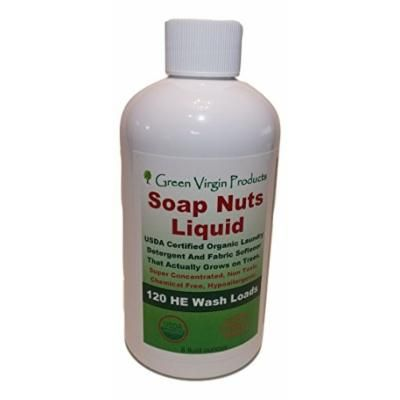 Green Virgin Products Soap Nuts Liquid, All Natural Laundry Detergent, 8oz Bottle
