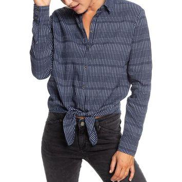 Juniors' Suburb Vibes Tie-Front Shirt