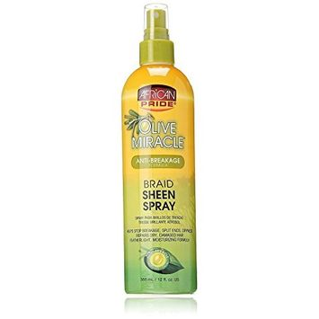 AFRICAN PRIDE OLIVE MIRACLE BRAID SHEEN SPRAY 12oz ANTI BREAKAGE