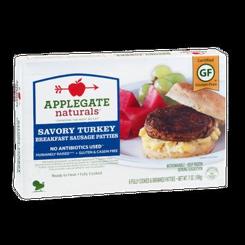 Applegate Naturals Breakfast Sausage Patties Savory Turkey - 6 CT