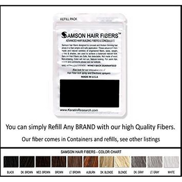 Auburn Samson Best Hair Loss Concealer Building Fibers Refill Kit With 25grams USA refills All Brands