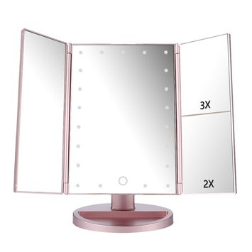 Lighted Vanity Mirror Magnifiers Tri-Fold Three Panel 21Led Light 180 Degree Free Rotation Countertop Cosmetic Makeup Mirror with 2X/3X Magnification (Rose G