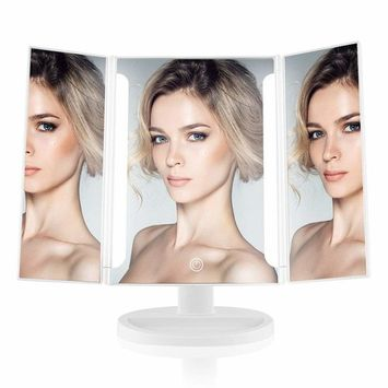 Easehold Lighted Vanity Makeup Mirror Tri-Fold with LED Light Bars 180 Degree Free Rotation Table Countertop Cosmetic Bathroom Mirror