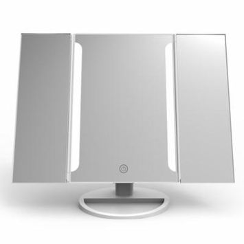 Easehold Lighted Vanity Makeup Mirror Tri-Fold with LED Light Bars 180 Degree Free Rotation Table Countertop Cosmetic Bathroom Mirror, White